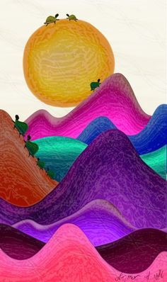 Whimsical colorful hills turtles naive art print 8x10 inch 300dpi artwork.