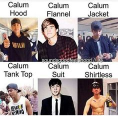 calum hood and flannel and jacket and tank top and suit and shirtless are my favorite