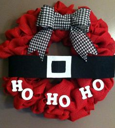 Red burlap Santa wreath