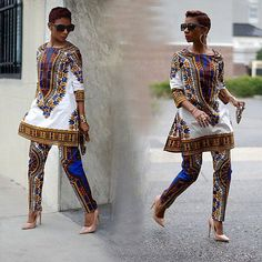 Traditional African Dashiki Print Shirt Tops + Pants Two Piece Set Casual Outfit