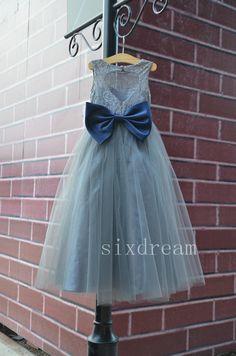 Grey Lace Navy blue sash/bow Flower Girl Dress White by sixdream