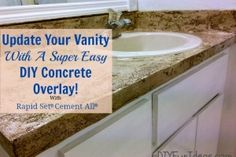 UPDATE YOUR VANITY WITH A SUPER EASY DIY CONCRETE OVERLAY