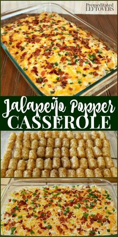 The Original Jalapeno Popper Casserole Recipe! This easy Jalapeno Popper Tater Tot Casserole is made with jalapeno peppers, cream cheese, tater tots, cheese, and bacon. It can be used as a delicious side dish recipe at the holidays or a hearty appetizer recipe at parties. Jalapeno Popper Casserole Recipe, Jalapeno Poppers, Jalapeno Popper Chicken, Jalapeno Popper Dip, Jalapeno Cream Cheese Bacon, Cream Cheese Poppers, Potluck Dishes, Food Dishes, Side Dish For Potluck