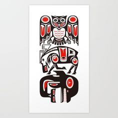 Canadian indigenous people, Haida Tribal design. With the image of the totem pole and place the animal that symbolizes the sky and (owl) and land (moose) sea (orca).