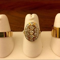 Gold tone rings with cz diamonds. Art Deco, Edwardian, Victorian costume jewelry ring. Comes with two gold bands flanking center ring. Size 5.5 on the center, size 6 on the two outer rings. Jewelry Rings