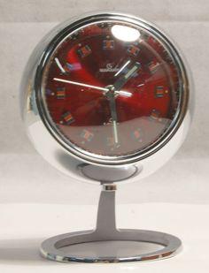 Vintage Retro 1970s Red & Chrome Garant Pedestal Wind up Ball Clock Japan