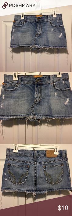 Hollister denim Mini skirt Excellent condition. The back label is worn as pictured. Hollister Skirts Mini