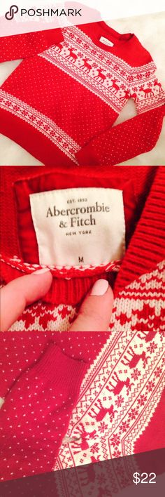 "{abercrombie} ""ugly"" (cute) • christmas sweater • • Reindeer with tiny hearts sweater                                                        • This is quite adorable but too small for me.                                      • Looks great and is in fantastic condition.                            • Traditional red and cream colors.                                                                   • Medium but fits more like a small; 20"".                         • No lowball ball offers…"