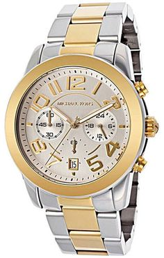 Michael Kors Mercer Golden Two Tone Chronograph Watch . Starting at $70 on Tophatter.com!