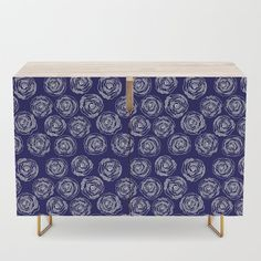 Buy 'Doodle Roses' Navy Blue and White Credenza by  Notsundoku | Society6. A repeat pattern of hand drawn doodle roses. #repeatpattern #patterns #roses #doodles #doodleart #flowers #handdrawn #Notsundoku #Society6 #livingspace #homedecor #Credenza #cabinet #cupboard #tvstand