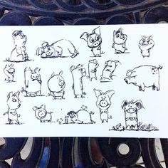 Doodling piggies today. #piggies #pigs #doodle #sketchbook #zebrabrushpen #brushpen #pig #hog #cartoon #characterdesign #art #animals