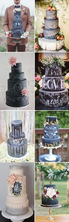 Rustic Wedding Cake Ideas - Black and White Chalkboard Wedding Cakes - Deer Pearl Flowers