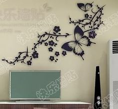 tree Wall Decor Decal Sticker butterfly flower by qinqindecal Butterfly Room, Butterfly Wall Stickers, Butterfly Flowers, Butterflies, Wall Art Designs, Wall Design, Hm Deco, Diy Wall Painting, Mural Wall Art
