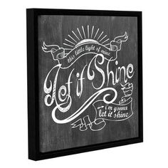 ArtWall 'Let it Shine White' by Longfellow Design Framed Textual Art on Wrapped Canvas Size: