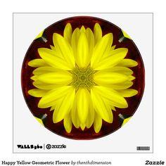 Happy Yellow Geometric Flower Wall Stickers