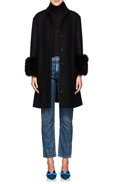 537c65ade06c1 We Adore  The Feather-Trimmed Wool-Blend Swing Coat from Lisa Perry at  Barneys New York
