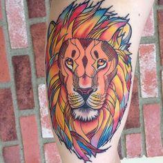Colorful lion tattoo @Lisa Phillips-Barton Phillips-Barton Phillips-Barton St.George you like?