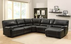homelegance black leather reclining sectional sofa chaise recliner rh pinterest com homelegance 6 piece bonded leather sectional reclining sofa with chaise brown Sectional Sofa with Chaise Lounge