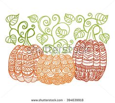 hand drawn pumpkins with swirl leaves, zentangle style. Halloween decoration…