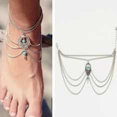 Hot Summer Ethnic Turquoise Beads Anklets Bohemian Chic Tassel Foot Chain Anklet Bracelet Body Jewelry Anklets For Women Ankle Jewelry, Body Jewelry, Women's Jewelry, Jewelry Bracelets, Chain Bracelets, Jewelry Accessories, Jewelry Design, Do It Yourself Fashion, Ankle Chain