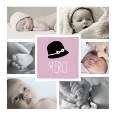 carte remerciement naissance Merci Coquette 6 photos by Tomoë pour www.fairepartnaissance.fr