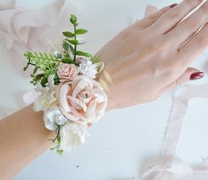Items similar to Flower Wrist corsage, Blush pink Flower bridesmaid corsage, Pink wrist corsage on Etsy Bridesmaid Corsage, Corsage Wedding, Bridesmaids, Bracelet Corsage, Wrist Corsage, Flower Bracelet, Prom Flowers, Flowers In Hair, Wedding Flowers