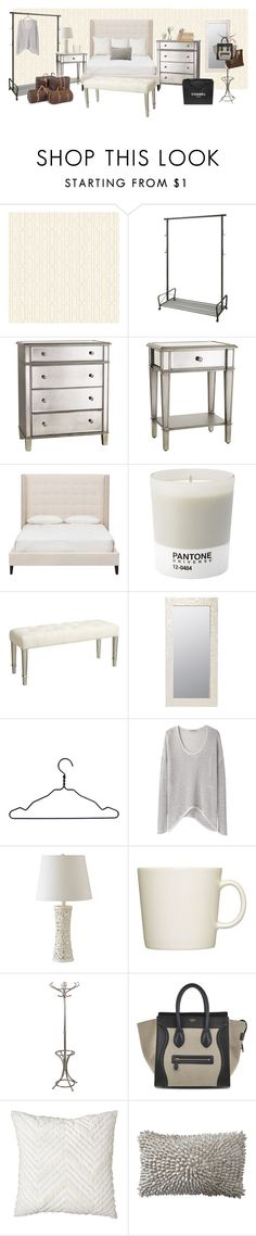 """""""kendall jenner inspired bedroom"""" by hellotia ❤ liked on Polyvore featuring York Wallcoverings, Pier 1 Imports, Pantone, Worlds Away, HAY, PEONY, Chanel, Helmut by Helmut Lang, Kenroy Home and iittala"""