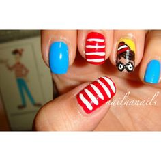 wheres waldo nails. Too funny. This would be such a hit with the younger kids.