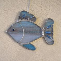Blue Beaded Fish Stained Glass Suncatcher