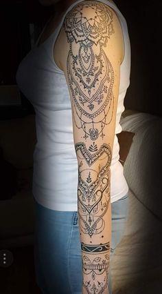 Sleeve mandala tattoo Lace Sleeve Tattoos, Half Sleeve Tattoos Forearm, Full Arm Tattoos, Tattoos For Women Half Sleeve, Upper Arm Tattoos, Back Tattoo Women, Shoulder Tattoos, Body Art Tattoos, Hand Tattoos