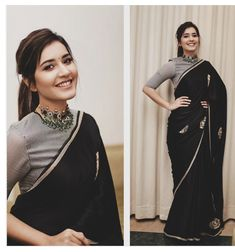 Raashi Khanna looking classy and pretty in a black Raw Mango saree for An emerald choker by Minerali Store. Love the messy ponytail look and a small black bindi rounded her look. Sari Blouse Designs, Fancy Blouse Designs, Black Saree Designs, Sari Design, Dress Designs, Diy Design, Patiala, Churidar, Salwar Kameez