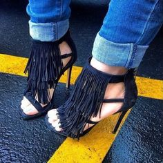 Steve Madden Black Suede Fringe Heels So chic and perfectly on trend! Sold out everywhere in black! Blogger favorite. Multiple sizes available! Brand new in box. No trades!! 01116230dr Steve Madden Shoes Heels