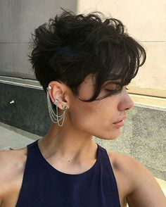 Long-in-Front Pixie Cut for Thick Wavy Dark-Brown Hair
