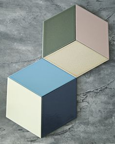 Living with File Under Pop lavastone boards in multiple ways. The Rombo shape can also be used as tiles for floors and walls.