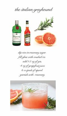 Fancy Drinks, Summer Cocktails, Cocktail Drinks, Cocktail Recipes, Gin, Italian Greyhound, I Love Food, Food Inspiration, Brunch