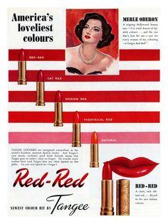 Tangee presents America's loveliest colours. #vintage #1940s #lipstick #cosmetics #ads
