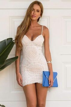 White Lace Spaghetti Strap Bodycon Dress from Craven. Tight Dresses, Sexy Dresses, Cute Dresses, Dress Outfits, Short Dresses, Backless Dresses, Sleeveless Dresses, Dresses 2016, Summer Dresses