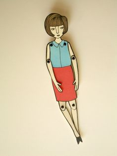 miniature moveable paper doll in red and blue by JordanGraceOwens, $7.00