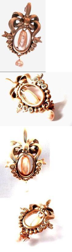 Pins Brooches 165894: Christian Dior Pin Brooch Set With Crystals And Pearl In Gold Plated Setting New BUY IT NOW ONLY: $45.0