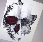 Skull butterfly tattoo, pretty skull tattoos, butterfly tattoos for women, flower skull, Diy Tattoo, Tattoo Fonts, Tattoo Shop, Tattoo Ideas, Tattoo Quotes, Tattoo Themes, Girls With Sleeve Tattoos, Tattoos For Women Small, Tattoos For Guys