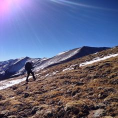 """@adventuresofjennyp making her way up #humboldtpeak. What a beautiful, bluebird day for a winter #14er. #coloRADo #summit #rockies #climbing #thinair"""