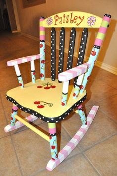 Hand Painted Rocking Chairs | Hand Painted Personalized Child's Rocking Chair by hughese on Etsy