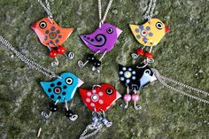 a lot of  Handpainted bird necklaces by HorakovaDesigns on Etsy, $40.00