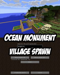 This Minecraft Ocean Monument seed spawns you beside a cliffside village. The ocean monument is clearly visible just offshore. A Java Edition Seed.