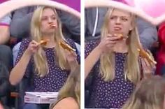 This Woman Stuffing Her Face With Pizza On Kiss Cam Is The Hero We Need
