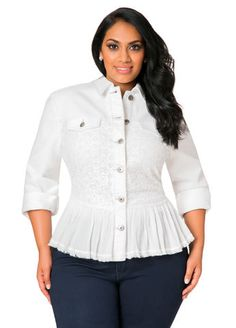 405a105ad73 Lace Panel Long Sleeve Denim Jacket Plus Size Outfits