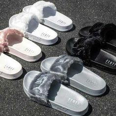 Rihannas Fenty Fur Slides Pink Black White and Grey