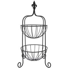 Black Two Tier Basket with Fleur-De-Lis Topper | Shop Hobby Lobby