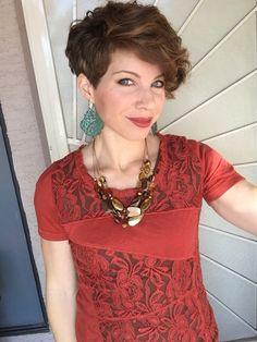 Asymmetric pixie hair cut. DYT type 3 shirt. Romantic, High spirited jewelry.