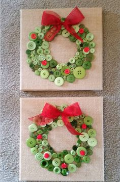 Button christmas wreath crafts for kids to make on a canvas for gifts! Button christmas wreath crafts for kids to make on a canvas for gifts! Christmas Decorations Diy Crafts, Wreath Crafts, Christmas Crafts For Kids, Xmas Crafts, Christmas Christmas, Christmas Button Crafts, Christmas Canvas, Christmas Ornaments, Christmas Buttons